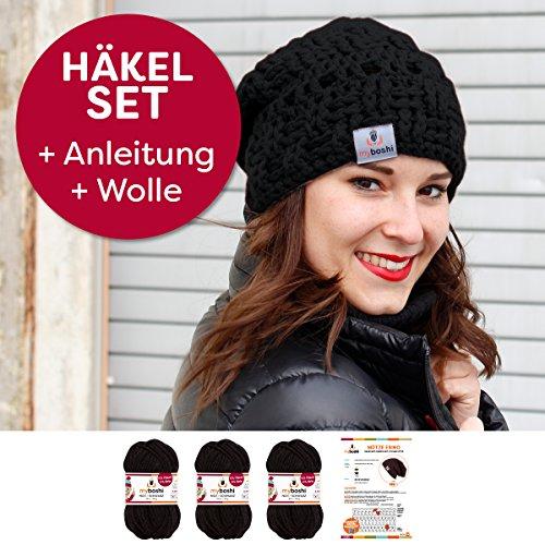 myboshi Häkel-Set Mütze | aus No.1 | Anleitung + Wolle | ohne Häkelnadel Ebino schwarz