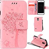 Ooboom® Samsung Galaxy S5 Mini Case Cat Tree Pattern PU Leather Flip Cover Wallet Stand with Card/Cash Slots Packet Wrist Strap Magnetic Clasp for Samsung Galaxy S5 Mini - Pink