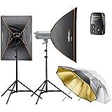 Walimex Pro VC excellence Studioset classique 3.3 (incl. 2x 300Ws flash, boîte à lumière 60x90cm, déclenchement du flash, des parasols et des trépieds)