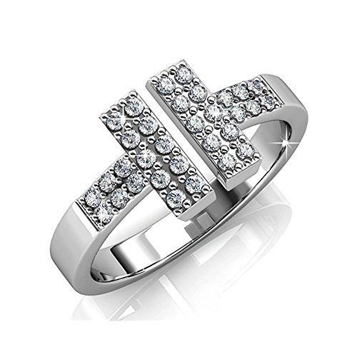Cate & Chloe Damen Kat Rock Star 18K weißes Gold überzog Ring mit Swarovski-Kristallen, funkelnde Diamant Cluster-Ring, besondere Anlässe Klassische Promise Ring für Frauen - hypoallergen - (6) - 6