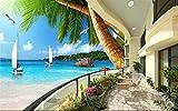 BHXINGMU Fondos De Pantalla 3D Murales Fotográficos Personalizados Paisajes De Vacaciones En Hawai Murales De Habitaciones Pegatinas De Papel Tapiz 50Cm(H)×90Cm(W)