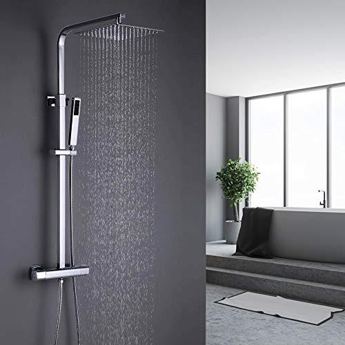 ONECE Duschsystem Thermostat Duschgarnitur mit Regendusche Quadratisch Duschsäule Duschset Duscharmatur Set mit Edelstahl Kopfbrause Handbrause