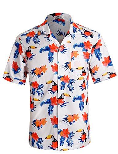 APTRO Herren Hemd Strandhemd Hawaiihemd Kurzarm Urlaub Hemd Freizeit Reise Hemd Party Hemd Vogel BT018 XXXL