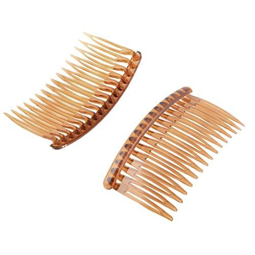 sourcingmap® Dame Femme 16 dents en plastique fantaisie bricolage Peigne à cheveux brun en épingle Agrafe Slide 2 PCS
