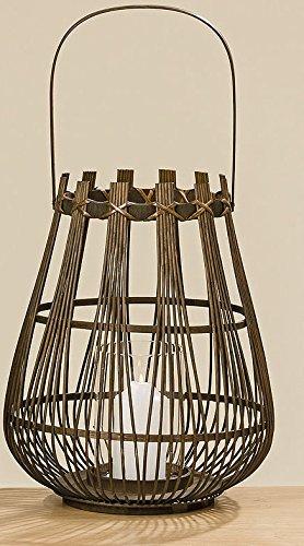 Bambus Windlicht Laterne braun 43cm