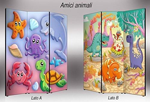 Lupia Separè bifacciale artistico Divisorio Telaio 3 Ante con Stampa su Tela Amici Animali, Legno, Multicolore, 176x3.2x135.6 cm