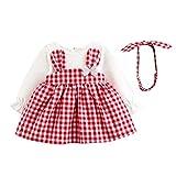 Babykleidung,Shopaholic0709 Babykleidung Baby Langarm Plaid Cartoon Kaninchen Ohr Kleid + Hair Strap Zweiteilige Set Neugeborene Kleidung Babykleidung mädchen