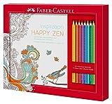 Faber-Castell 201433 - Ausmalset Happy Zen mit 8 Colour Grip Buntstiften