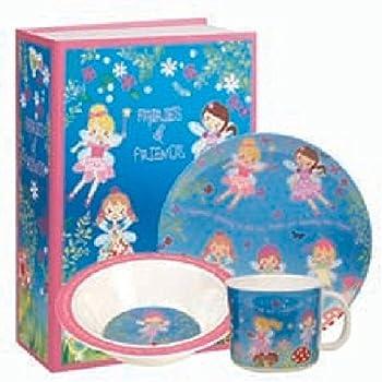 Multi-Colour Queens Little Rhymes Twinkle Blue 3PC Melamine Set Gift Box 16 x 16 x 16.5 cm