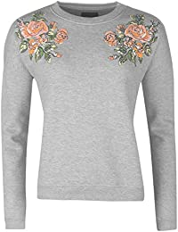 Golddigga Womens Puff Crew Sweater Jumper Pullover Neck Print Floral