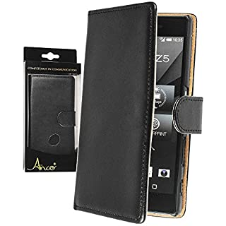 Anco Premium Genuine Leather Flip Black Protective Case Back Cover for Sony Xperia Z5 with Credit Card Slots and Stand Function)