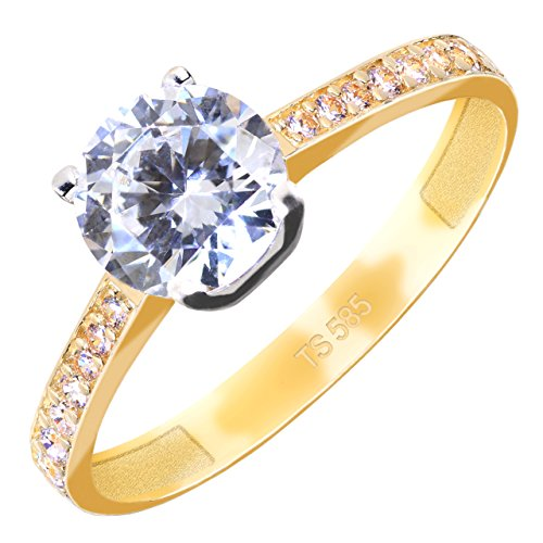 GIORO Diana Verlobungsring in 585 Gold mit Swarovski Kristallen (58 (18.5))