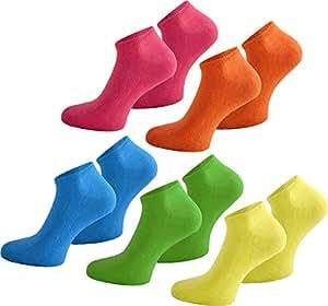 10 Paar USA Sneakers Sneakersocken Sneaker Socken für Damen Herren und Teenager in Schwarz Farbe Neon Größe 37/42