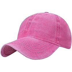 Tuopuda Gorra de Béisbol Classic Unisex Ajustable Washed Teñido Gorras de Béisbol de Algodón Sombrero de Deportes al Aire Libre (Rosa roja)