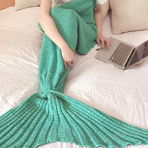 XIAOLI& Meerjungfrau Schwanz Decke Meerjungfrau Decke Sofadecke Klimaanlage Decke Wolle Stricken Schlafsack mit Vier Jahreszeiten Weich Warm, 80 * 180