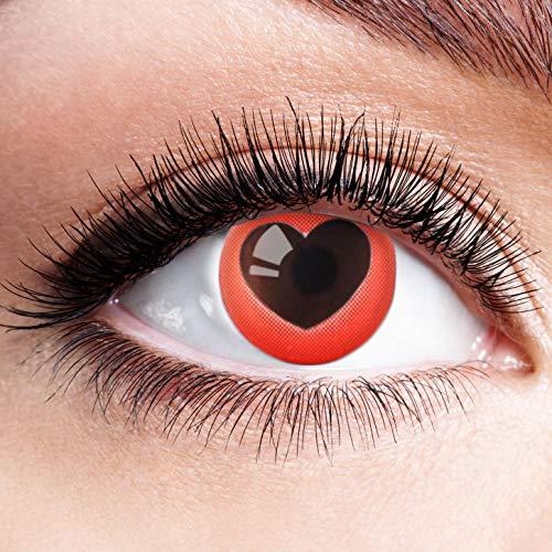Farbige Kontaktlinsen Schwarz Rot Ohne Stärke mit Motiv Linsen Halloween Karneval Fasching Cosplay Kostüm Black Red Eyes Schwarze Rote Augen Heart Rotes Herz (Halloween Herz Auge)