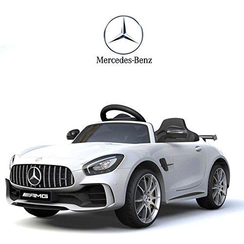 BAKAJI Auto Elettrica per Bambini Mercedes Benz AMG GTR 12V SoftStart con Telecomando Parental Control (Bianco)