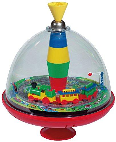Bolz 52120 - Brummkreisel Panorama Eisenbahn mit Soundchip, Kreisel mit Rundum Sicht auf fahrenden Zug, sich bewegender Schranke und Lokgeräuschen, Musikkreisel für Kinder ab 18+ Monaten