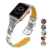 KWLET Bandes de Cuir Compatible pour Apple Watch Band 38mm 42mm Femme Fin...