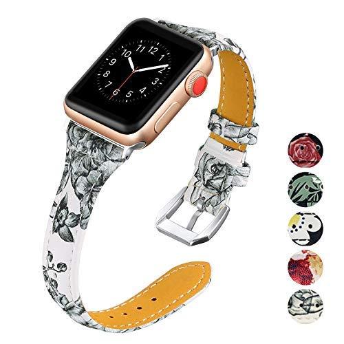 Designer-stil-gürtelschnalle (KWLET Kompatibel für Apple Watch 38mm Armband Leder Damen Slim Watch Strap für Apple Watch Strap 40mm Damen Echtes Leder Klassisch Flower Designer Strap Ersatz für iWatch Armband 40mmm Serie 4 3 2 1)