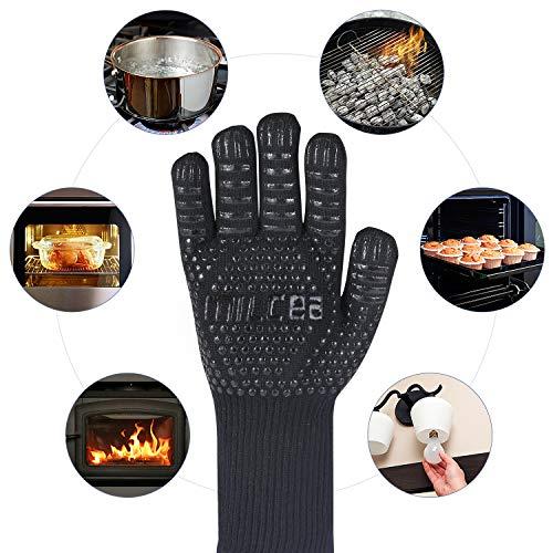 51sapEvqQ6L - MILcea Grillhandschuhe Ofenhandschuhe Grill Lederhandschuhe Hitzebeständige bis zu 800 ° C Universalgröße Kochhandschuhe Backhandschuhe für BBQ Kochen Backen und Schweißen-Klassisch Schwarz (Schwarz)