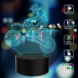 Novità 3D Illusion Lamps mtb Motocross Bike LED Night Lights USB 7 Colori Sensor Desk Lamp per Outdoor Sports Lover Collection Regali