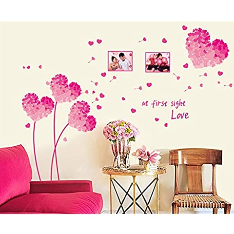 Winhappyhome La Flor Rosada Del Amor De La Manera Etiqueta De La Pared Pegatinas Removibles HabitacióN Sala Cafe Papel Tapiz De Fondo DecoracióN De Cristal