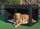 Petsfit Indoor Dog House Large Soft Fabric Dog Crate for Medium to Large Dogs,Black 89cm x 58cm x 58cm (Large)
