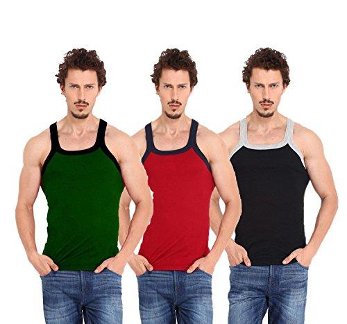 Zimfit Men's Cotton Gym Vest Pack Of 3 - (Green_Red_Black) (M)