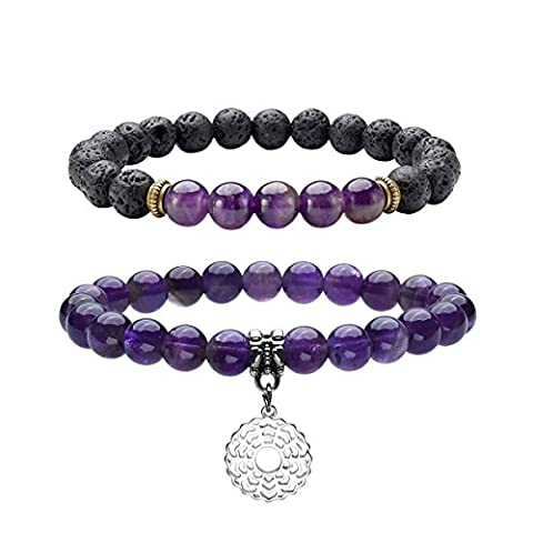 QGEM 2pcs Healing Crystal Natural Amethyst/Sahasrara Beads 8mm Stretch Chakra Charms Bracelet Reiki Energy