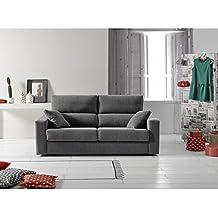 Sofá cama de tres plazas con apertura italiana. Tapizado en tela.