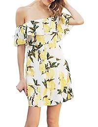 7455b16a18bb9 Xinxinyu Damen Kleid, Lässig { Sommerkleid Kurzarm } { Frucht Zitrone  Sundress} Lady { Drucken strand Kleid } (Gelb,…