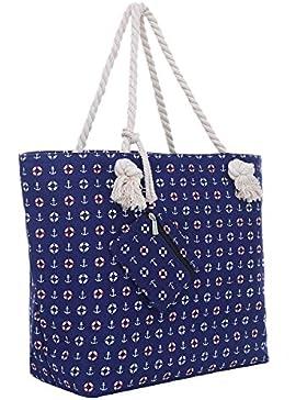 Große Strandtasche mit Reißverschluss 58 x 38 x 18 cm Strand-Maritim Design Shopper Schultertasche