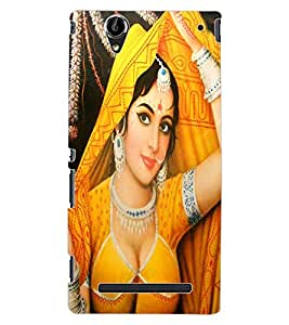 ColourCraft Lovely Lady Painting Design Back Case Cover for SONY XPERIA T2 ULTRA