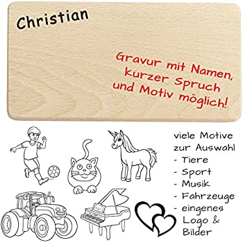 Frühstücksbrettchen / Brotzeitbrettchen Mit Name, Spruch, Motiv, Logo Oder  Comic   Hochwertige Gravur