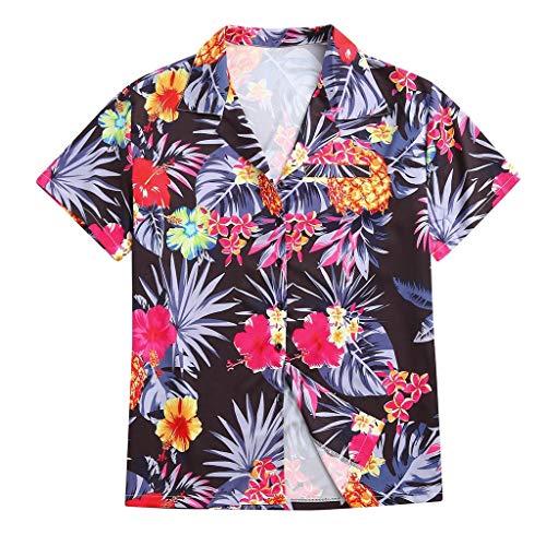 LILIGOD Herren Hawaii Kurzarm Shirt Top Männer Lose Knöpfe Freizeithemd Lange Hülsen Bluse Tops Ethnic Style Printing Hemden Mode Wild Hemd Oberteile Strandhemd für Herren