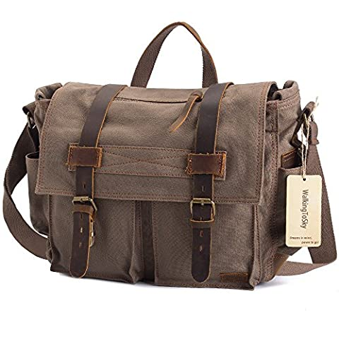 WalkingToSky 15.6 Inch messenger bag Vintage Military Canvas Leather Shoulder Laptop Bags for Men and Women (Army Green)