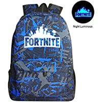 Kobwa Fortnite Luminous Backpack Battle Royale School Bag Notebook Rucksack Laptop Fortnite Galaxy Backpack for Teenagers Boys and Girls