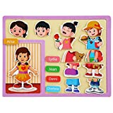 Gizayen 1 Set Kid Wooden Toy 3D Puzzle Story Pictures Intelligence Training Education, Wooden Puzzle Brain Teasers Toy Tangram Jigsaw Intelligence Colorful Blocks Game Educational Gift Baby Kids