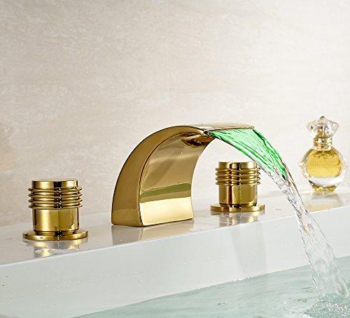 Galvanik Galvanik Retro Retro Wasserhahn Wasserhahn Wasserfall 3 Löcher Waschbecken Armatur gold Finish Mischbatterie mit LED-Licht, Chrom hohe Tippen -