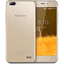 Blackview A7 Smartphone, 5.0 Pollici Display Android 7.0 3G Telefono Cellulare, Quda-core MT6580A 1.3Ghz, 1GB RAM + 8GB ROM, 2MP+ 5MP Dual Camera, Dual SIM, WiFi/GPS/Bluetooth Cellulare - Oro