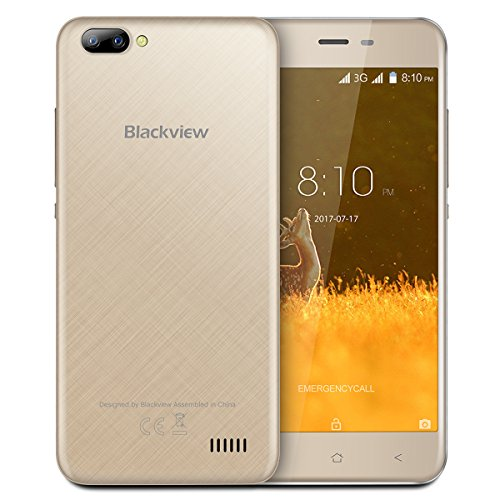 Blackview Günstiges Handy, A7 3G Smartphone Ohne vertrag, 5.0 Zoll HD Touch Display, Android 7.0, 1GB+8GB Quad-Core, Dual Backkameras(5 MP+0.3 MP), Dual Sim Handy, 2800mAh - Gold