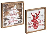 PMS Decorazioni per albero di Natale in legno, 27 cm Light Up – 'have a Holly Jolly Christmas' – Decorazione di interni