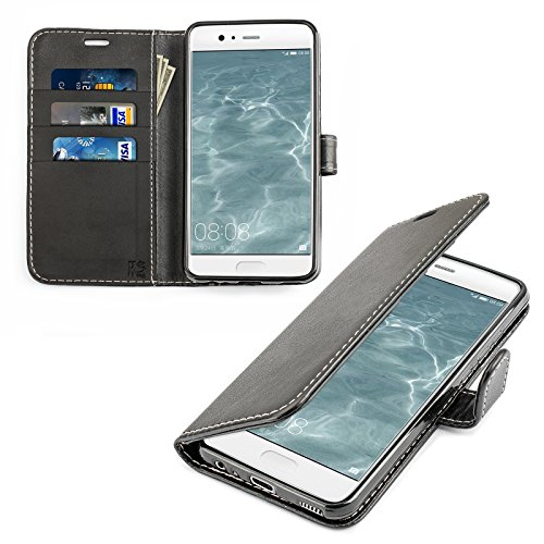 Huawei P10 Hülle, KingShark [Ständer Funktion] Huawei P10 Schutzhülle, Premium PU Leder Flip Tasche Case mit Integrierten Kartensteckplätzen und Ständer für Huawei P10 - Leder Serie schwarz (Tasche Pu-leder)