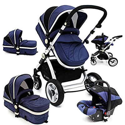 i-Safe System - Navy Trio Travel System Pram & Luxury Stroller 3 in 1 Complete with Car Seat