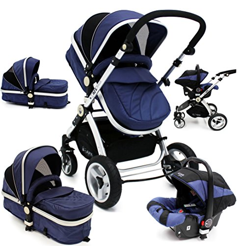 i-Safe System – Navy Trio Travel System Pram & Luxury Stroller 3 in 1 Complete With Car Seat 51sau2yqeGL