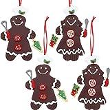 TecUnite 4 Stück Lebkuchen Weihnachtsbaum Ornamente Männer Lehm Figurine Ornamente Herr und Frau Gingerman Hängende Charms für Festival Urlaub Dekoration