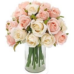 Outuxed 2 Strauß künstliche Seidenblumen Blumenköpfe jeder Strauß aus 12 künstliche Rosenköpfe für Familie Braut Hochzeit Party Feiertag Dekoration