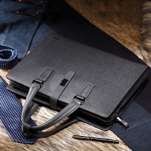 BVP Edle Modeherz Aktentasche&Laptoptasche Für Herren Aus Leder In Elegantem Grau Mit Jeanstoff Muster T1012 Blau+Grau+Kaffee (Kaffee) Grau