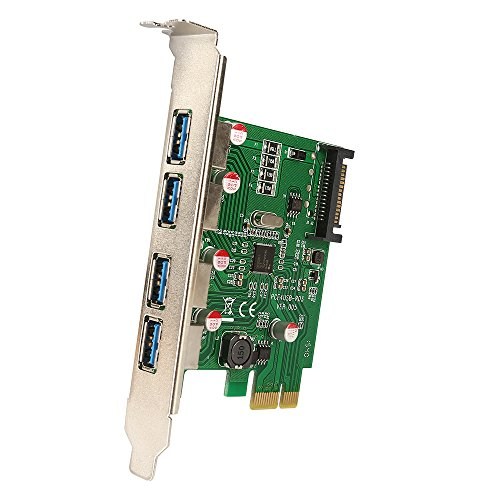 Preisvergleich Produktbild SainSonic USB 3.0 PCI Express PCI-E Expansion Card with 4 USB 3.0 Ports and 5V 4-Pin Power Connector for Desktops, Super Speed Up to 5Gbps